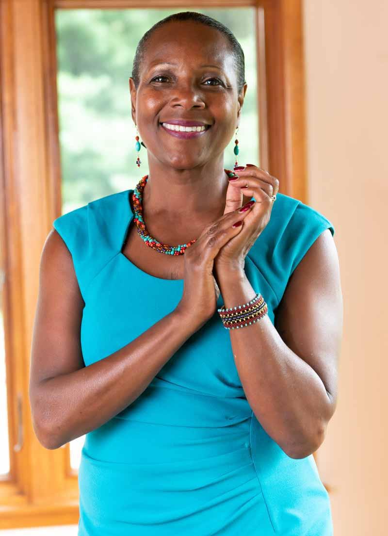 woman wearing beaded jewelry